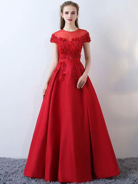 Milanoo Satin Evening Dresses Burgundy Long Prom Dresses Flowers Beading Illusion Floor Length Formal Dress