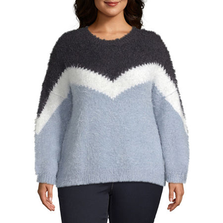 a.n.a-Plus Womens Crew Neck Long Sleeve Pullover Sweater, 2x , Silver