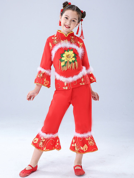 Milanoo Kid Chinese Costumes Red Flower Dance Costumes Top With Pants Outfit