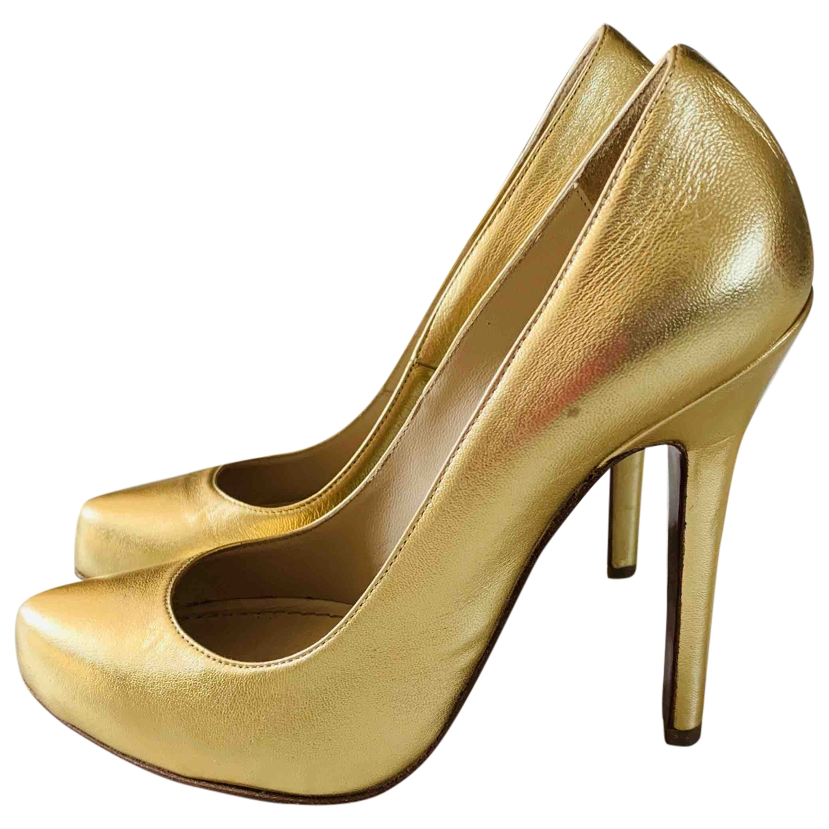 Pinko \N Gold Leather Heels for Women 37 EU