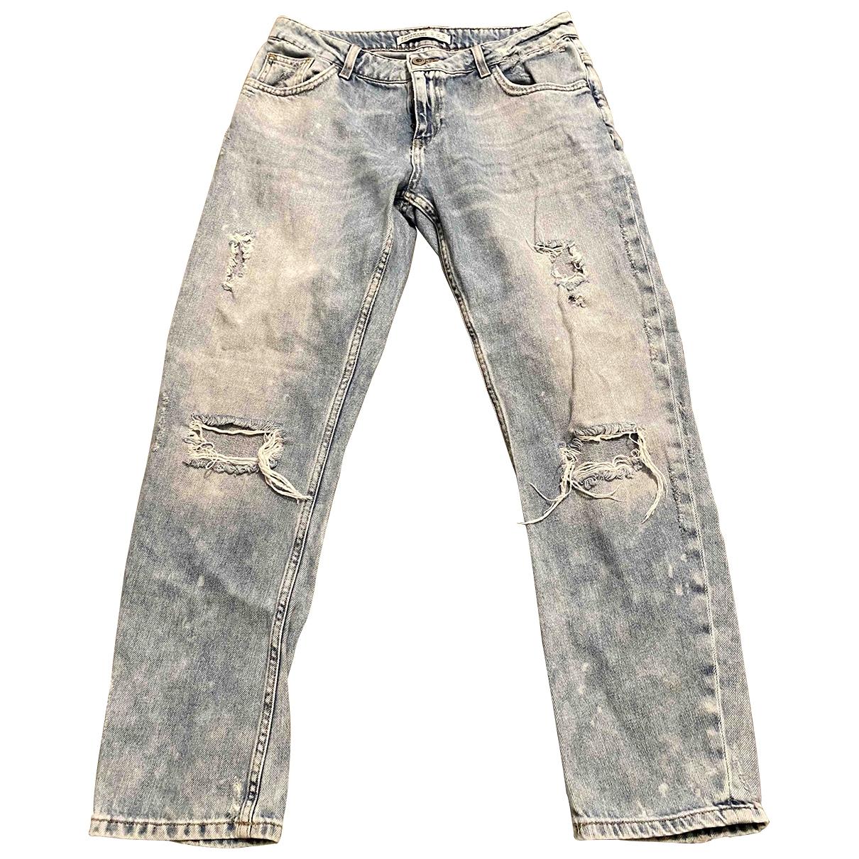 Zara \N Blue Cotton Jeans for Women 36 FR