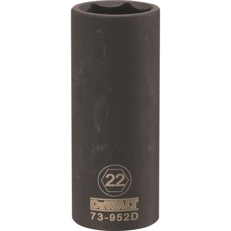 DeWalt 6 Point 1/2# Drive Deep Impact Socket 22-Mm