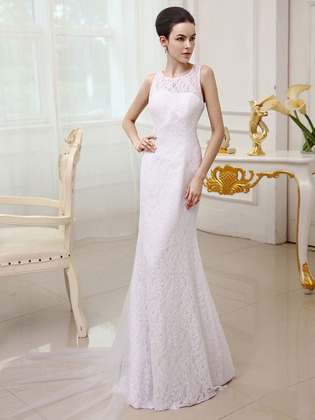 Milanoo White Watteau Train Bridal Wedding Dress with Lace Flower