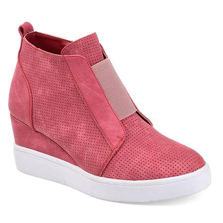 Journee Collection Womens Clara Wedge Sneaker, 10 Medium, Pink