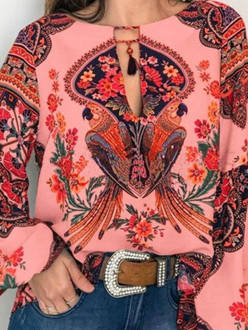 Ericdress Floral Round Neck Print Standard Fashion Blouse