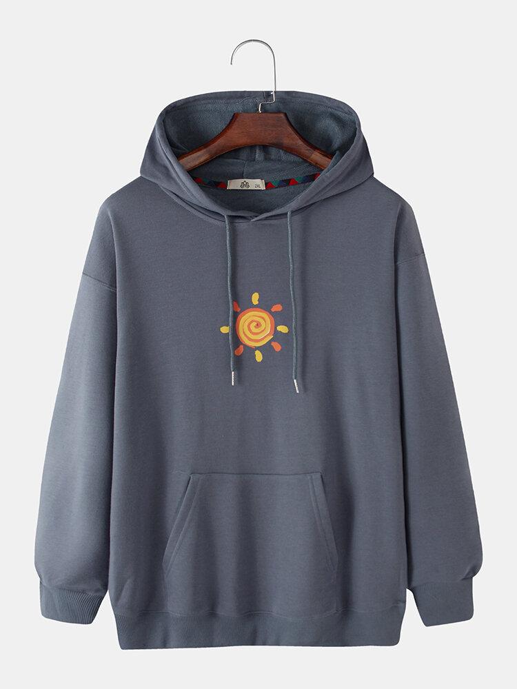 Mens Cartoon Sun Chest Print Plain Pullover Hoodies With Kangaroo Pocket
