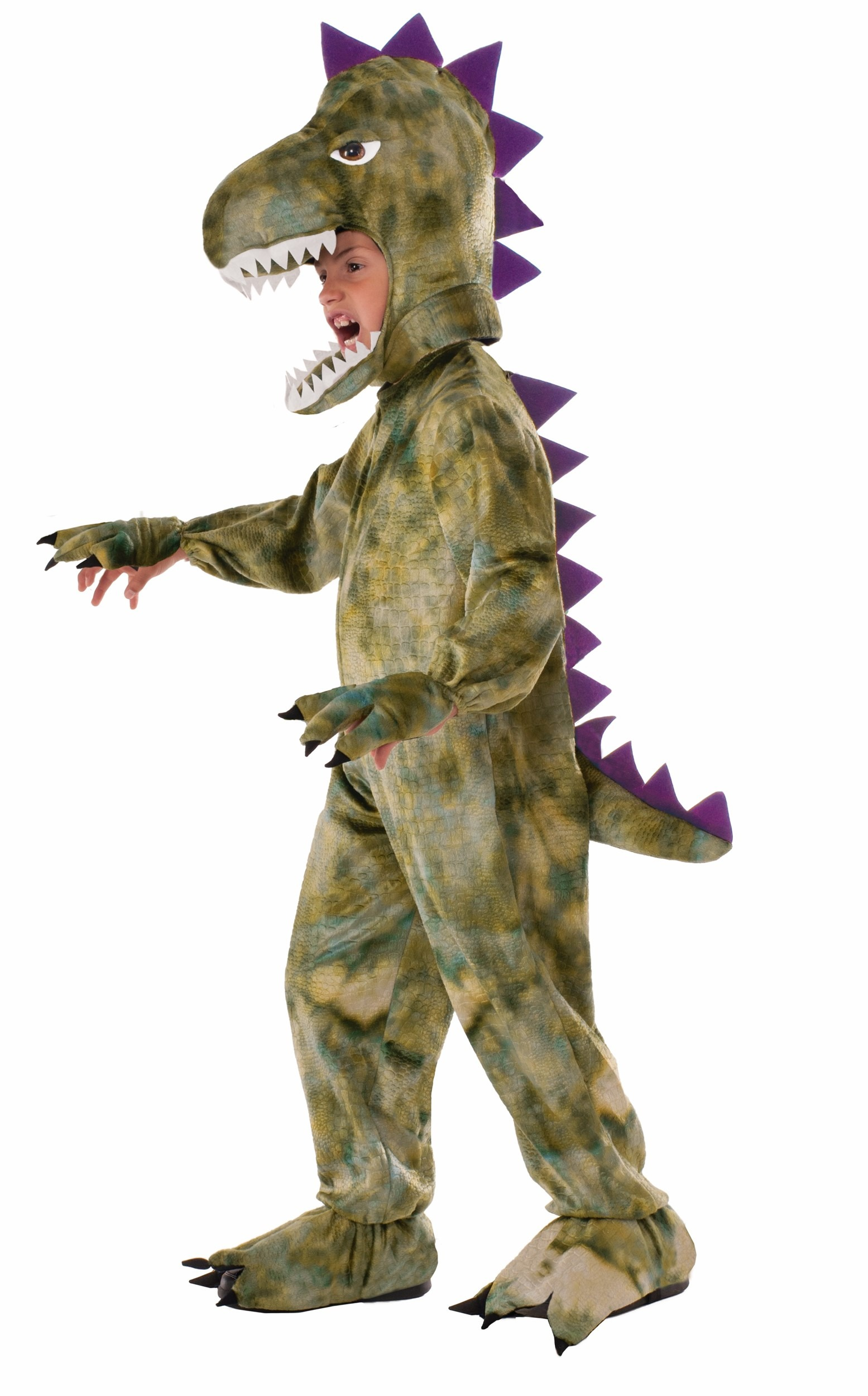 Child Dinosaur Costume Jumpsuit with Attached Hand and Foot Covers