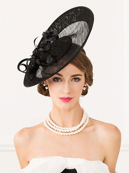 Milanoo Flapper Costume Hat Black Flowers Rhinestone Decor Linen Retro Costume Headpiece Hat Halloween