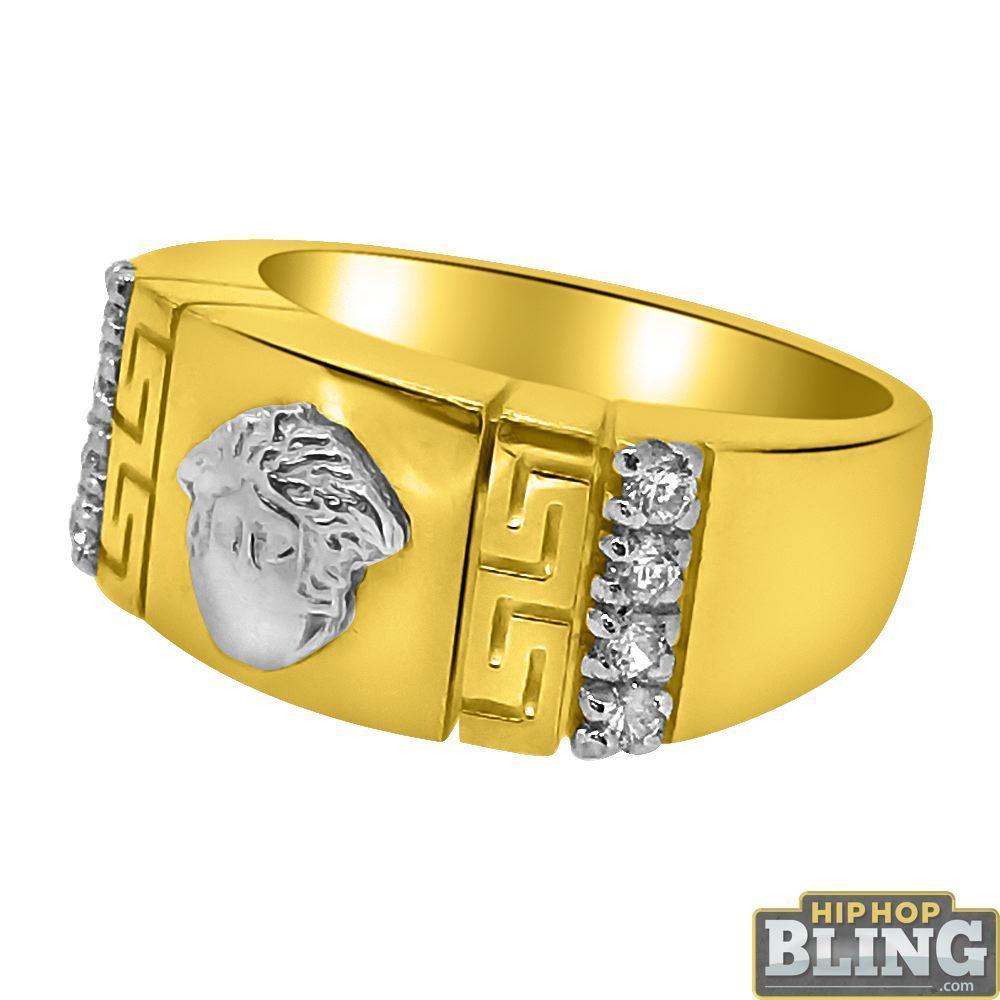 10K Gold 2 Tone Medusa Greek Bar Pattern CZ Ring