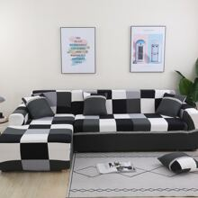 Plaid Pattern Sofa Cover Without Cushion