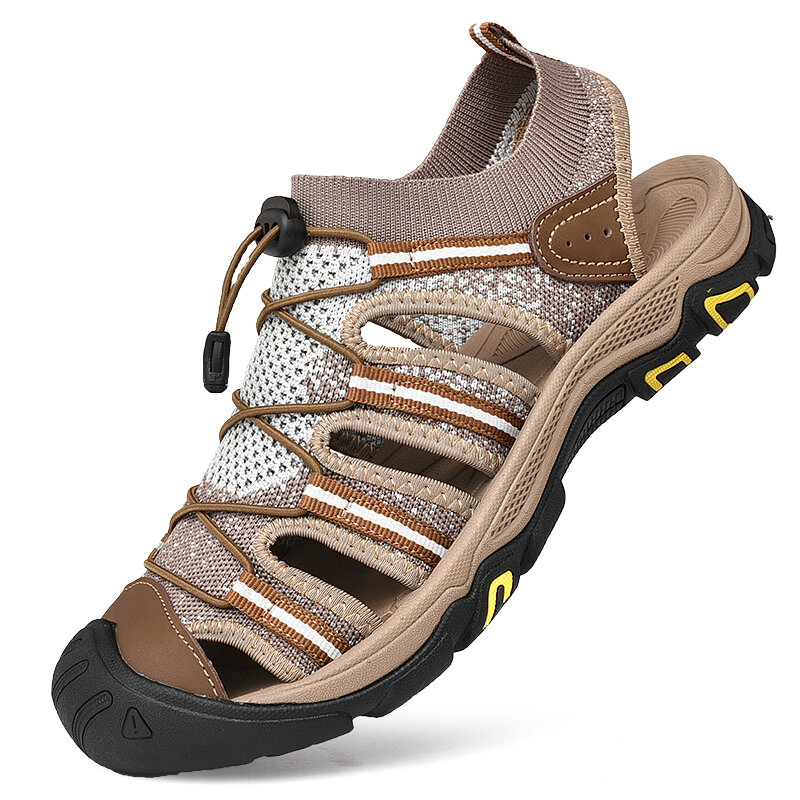 Men Super Comfy Knitted Fabric Soft Outdoor Non Slip Sandals