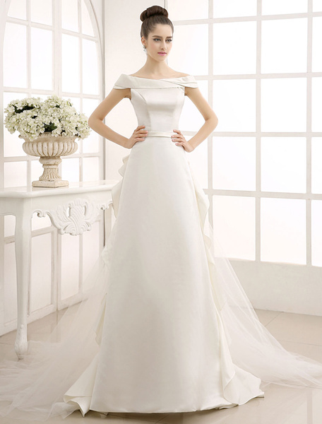 Milanoo Ivory A-Line Sweep Bridal Wedding Dress with Off-The-Shoulder Ruffles