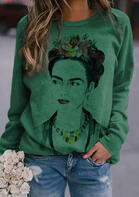 Frida Kahlo Floral Mexico T-Shirt Tee - Green