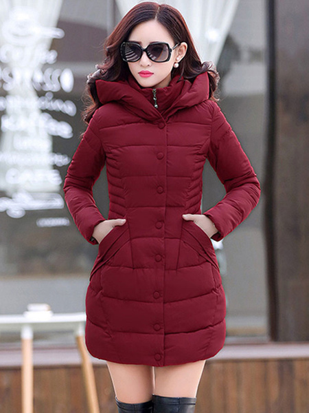 Milanoo Hooded Puffer Coat Cotton Filled Bubble Coats With Pockets For Winter