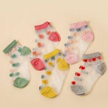 5pairs Toddler Girls Heart Pattern Socks