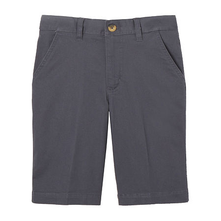 French Toast Little & Big Boys Adjustable Waist Chino Short, 6 , Gray