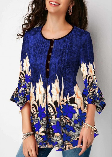 Women'S Blue Floral Print Three Quarter Sleeve Split Neck Tunic Spring Blouse Pleated Button Up Casual Work Top By Rosewe - L
