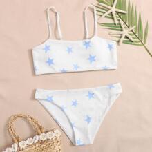Star Ribbed Bikini Swimsuit