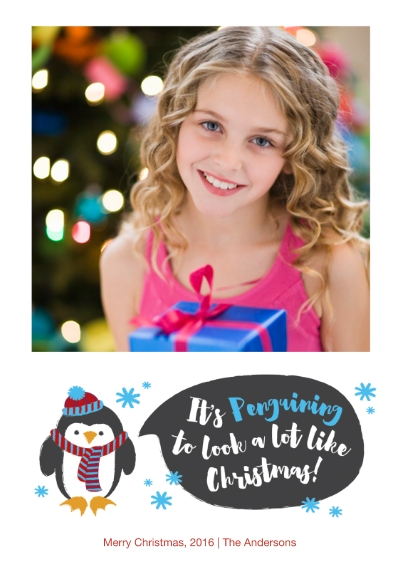 Christmas Photo Cards 5x7 Cards, Premium Cardstock 120lb with Elegant Corners, Card & Stationery -A Penguin Christmas