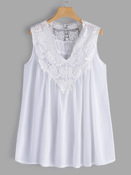 Yoins Plus Size White Lace Insert V-neck Tank