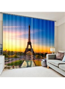 3D High Tower Printed Living Room and Bedroom Blackout and Decorative Curtain