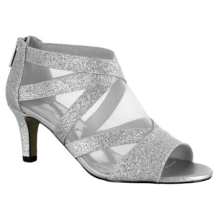 Easy Street Womens Dazzle Zip Open Toe Spike Pumps Heel, 8 1/2 Medium, Silver