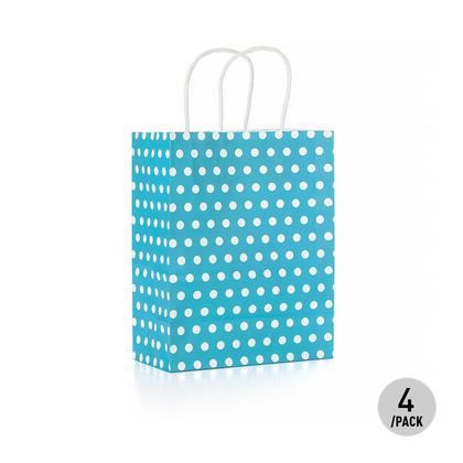 Sac cadeau à pois en papier kraft - Moyen bleu 4Pcs - LivingBasics™