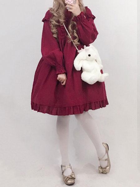 Milanoo Classic Lolita OP One Piece Dress Long Sleeve Round Neck Ruffles Embroidered Red Lolita Dress