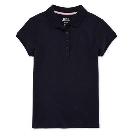 IZOD Little & Big Girls Short Sleeve Stretch Polo Shirt, 6/6x , Blue