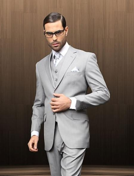 Mens 2 Button Vested Grey Textured Suit Comes With Free Shirt and Tie