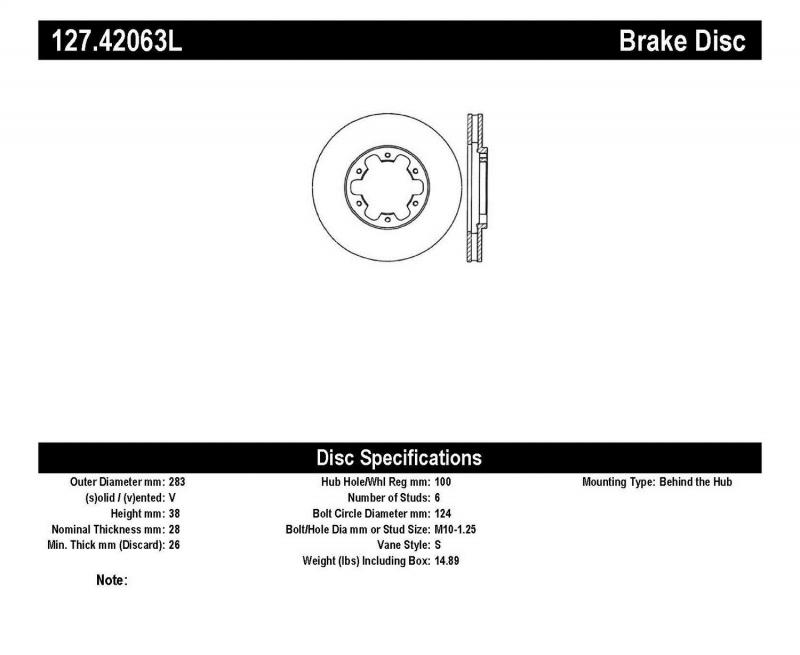 StopTech 127.42063L Sport Drilled/Slotted Brake Rotor; Front Left Nissan Front Left