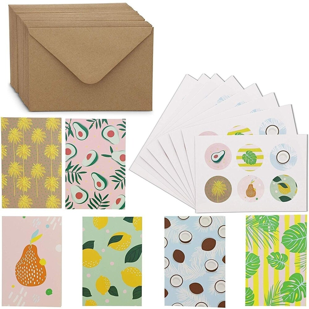 48x Fruits and Plants All Occasion Blank Greeting Cards w/ Envelopes & Stickers (Yellow - Paper)