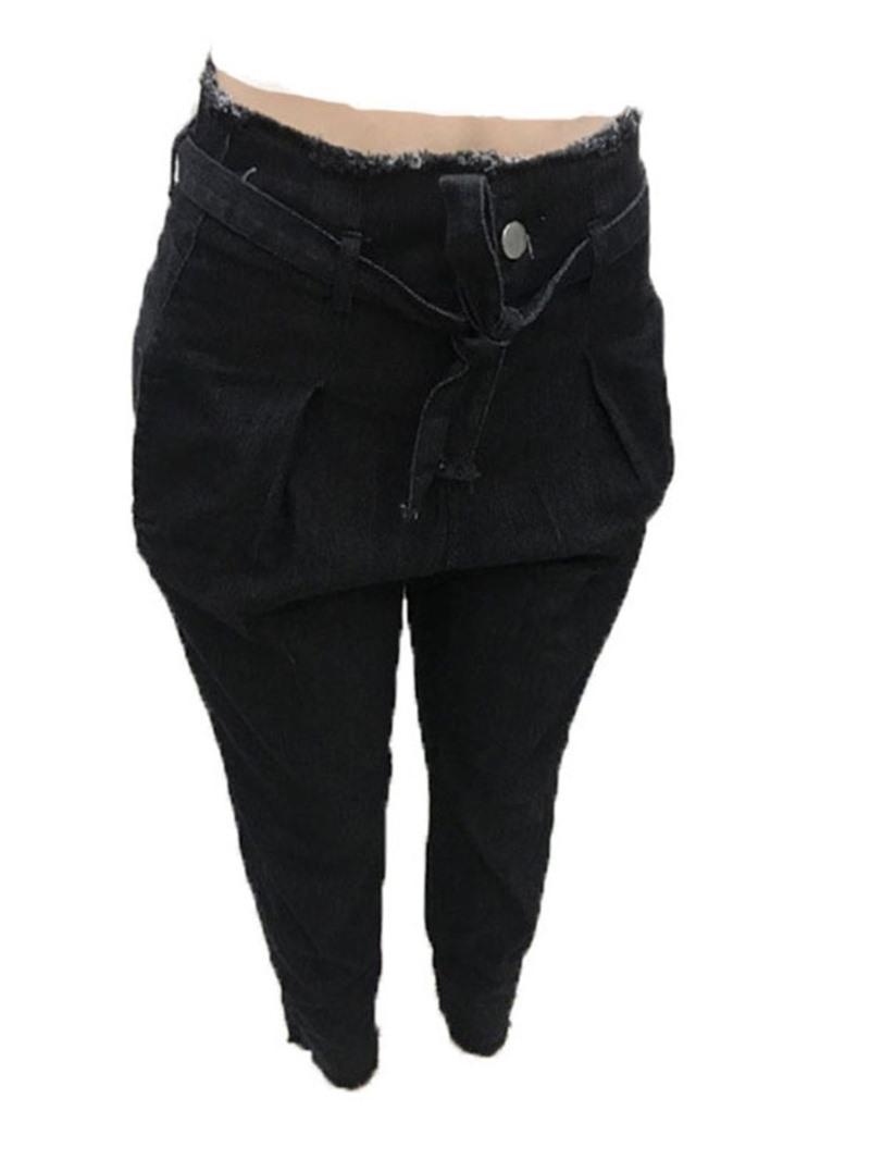 Ericdress Fashion Plain Lace-Up Pocket Slim Zipper Jeans