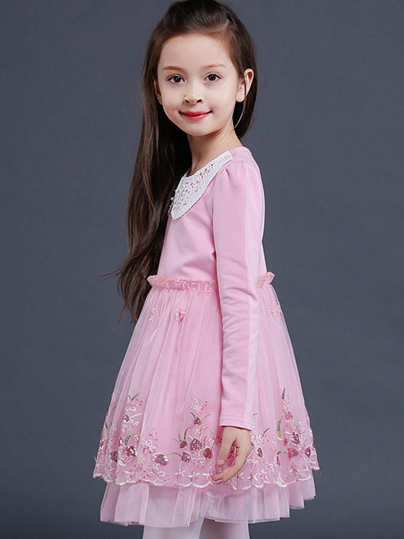 Ericdress Floral Embroidery Doll Collar Girls Dress