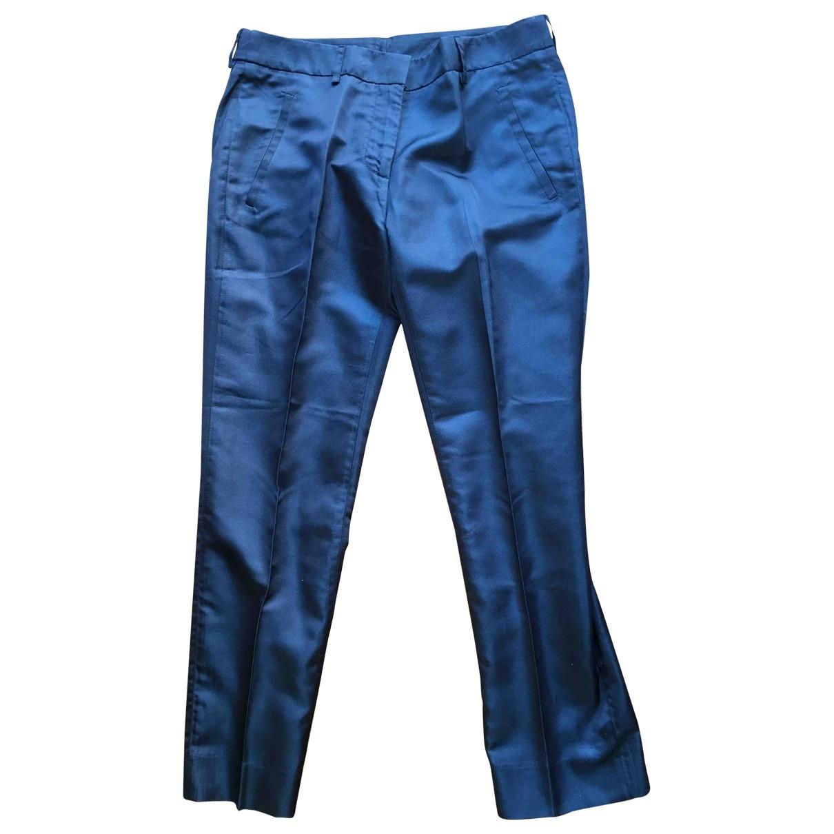 Normaluisa \N Blue Silk Trousers for Women 40 IT