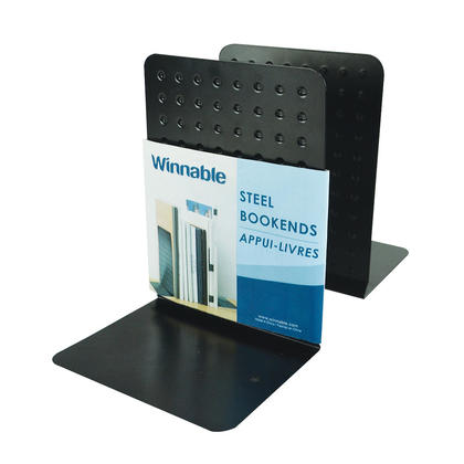 Winnable® Heavy Duty Steel Bookends, 6 x 9 in, Black