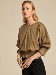Frill Trim Shirred Panel Solid Top