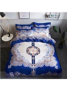 Symmetric Figure Pattern Blue Polyester 4-Piece Bedding Sets/Duvet Cover
