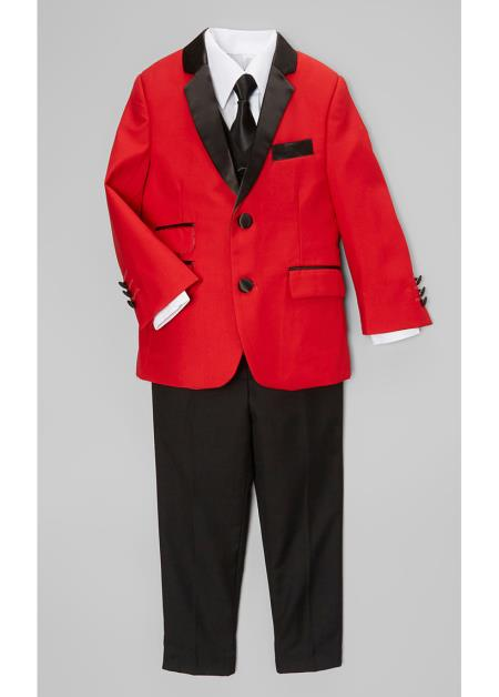 Boys Red And Black Lapel Boy suit & Blazer & Pants