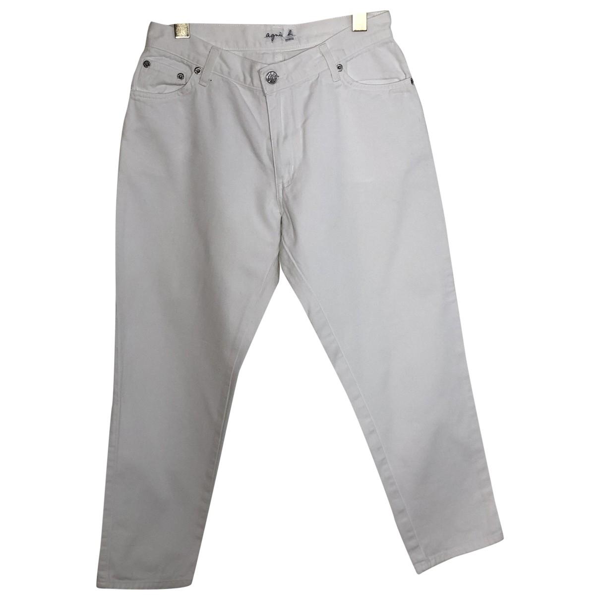 Agnès B. \N White Cotton Trousers for Women 38 FR