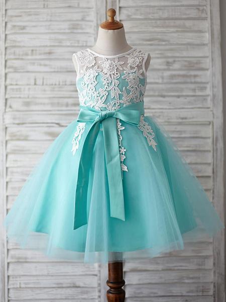 Milanoo Flower Girl Dresses Jewel Neck Lace Sleeveless Knee Length Princess Silhouette Sash Kids Party Dresses