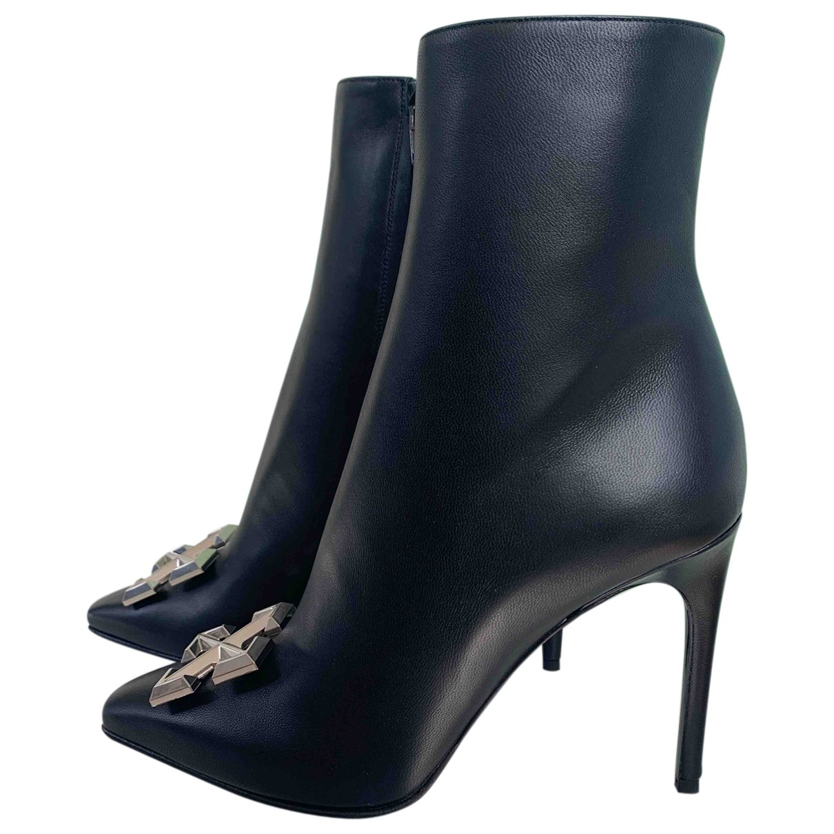 Off-white \N Black Leather Ankle boots for Women 39 EU