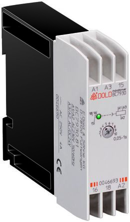 Dold SPDT Timer Relay - 0.05 → 15 s, 0.2 → 15 min, 0.2 → 16 h, 1 Contacts, Continuous, DIN Rail