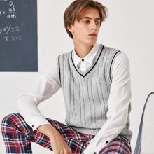 Men Cable-knit Sweater Vest