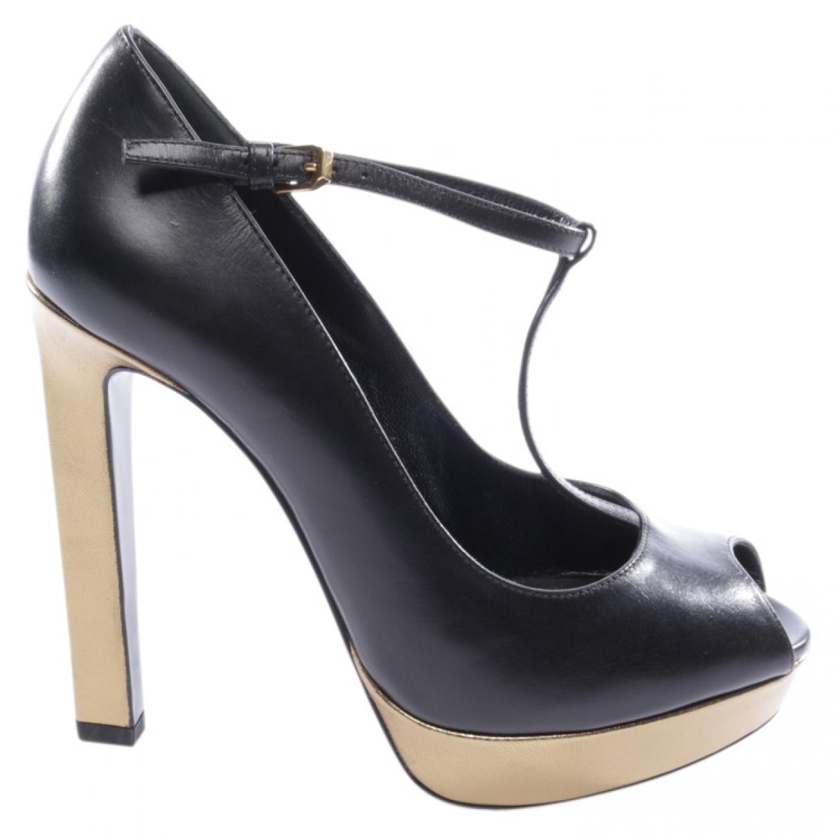 Saint Laurent \N Black Leather Heels for Women 39 EU