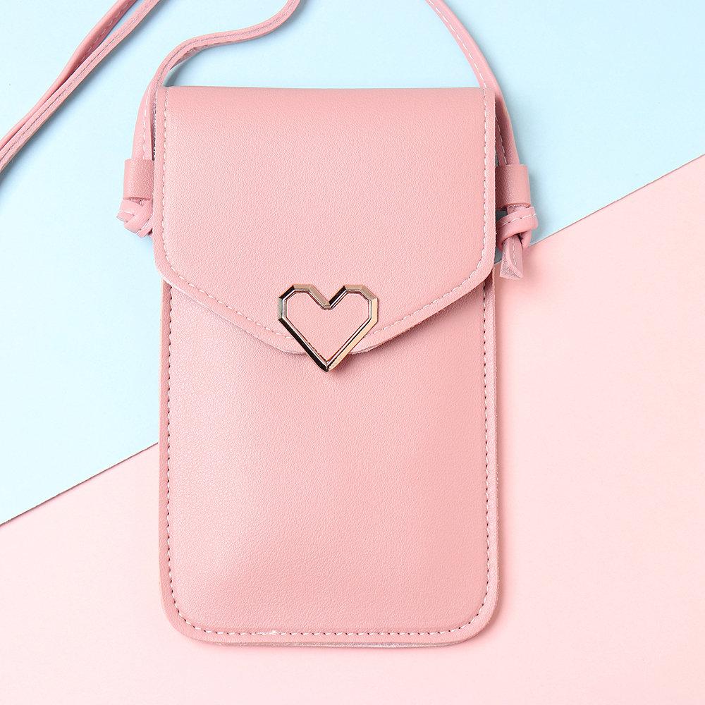 Women Heart Shaper Flap Touch Screen 5.5inches Phone Bag Crossbody Bag Shoulder Bag