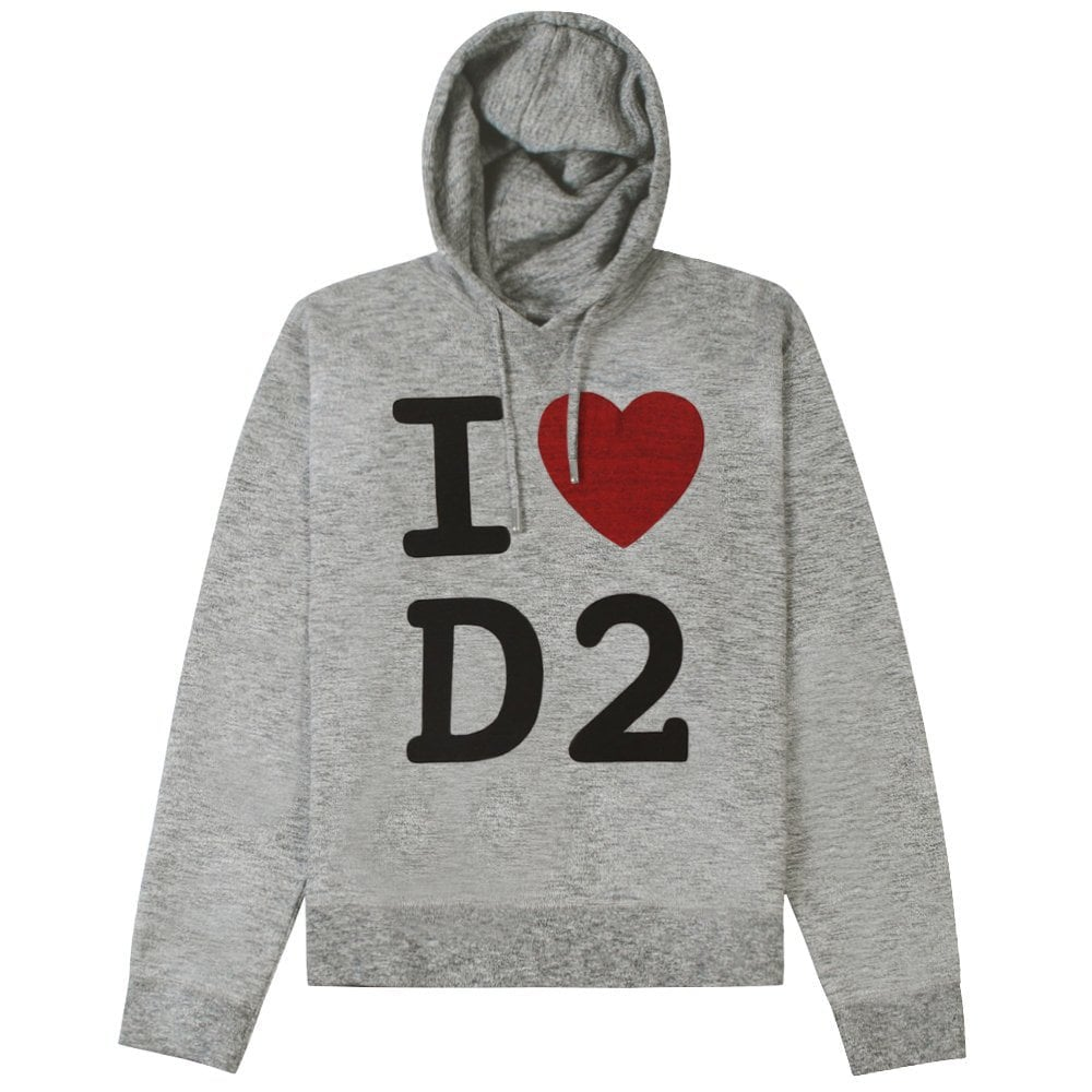 DSquared2 'I Love D2' Hoodie Grey Colour: GREY, Size: MEDIUM