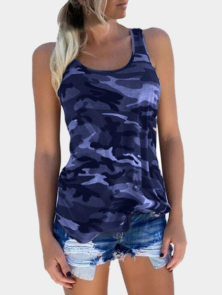 Yoins  Camouflage Round Neck Y-back Tank Top In Amethyst