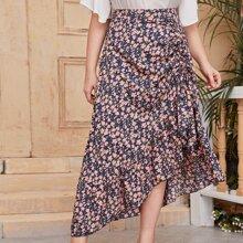 Plus Drawstring Front Asymmetrical Hem Skirt