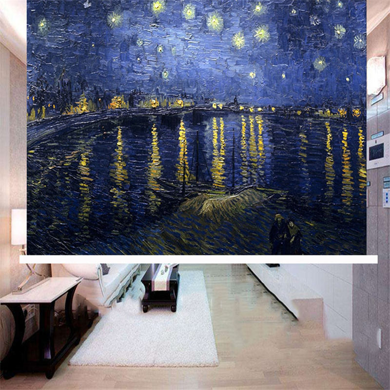 3D Night View Print Blackout Roller Shades with Artistic Oil Painting Design No Pilling No Fading No off-lining